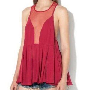 Free People peplum sheer panel blouse size small